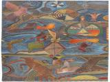 Lucky SIBIYA - Life next to the River - Painted carved and incised on wood panel 112 x 60cm