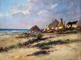 004_Christiaan Nice - Cottages Weskus - Oil on board 45 x 60cm SOLD for R28 000