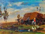 Adriaan BOSHOFF - Ducks in a Farm - Oil on canvas on board 14 x 25.5cm SOLD at R25 000