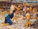 Adriaan Boshoff - At the Beach - Oil on board 40 x 62cm SOLD for R125 000