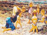 Adriaan Boshoff - At the Beach - Oil on board 40 x 62cm SOLD for R65 000
