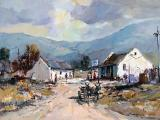 Christiaan NICE - Village Scene with Donkey Cart - Oil on board 42 x 60cm SOLD for R40 000