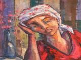 Dante RUBEN - Lady Wearing a Doek - Oil on canvas 59 x 49cm SOLD at R22 000