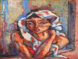Dante RUBEN - Lady with a Doek - Oil on board 68 x 51cm SOLD at R19 000