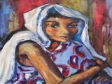 Dante RUBEN - Lady with a Scarf - Oil on canvas 60 x 43.5cm SOLD at R23 000