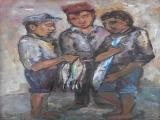 Kenneth BAKER - Young Fishermen - Oil on board 39 x 28.5cm SOLD at R8000