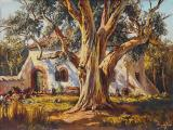 Tinus DE JONGH - Cottage amongst Trees - Oil on canvas 44 x 63cm SOLD for R43 000