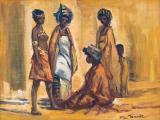 Titta Fasciotti - Group of Xhosa Women - Oil on board 24.5 x 34.5cm SOLD for R20 000